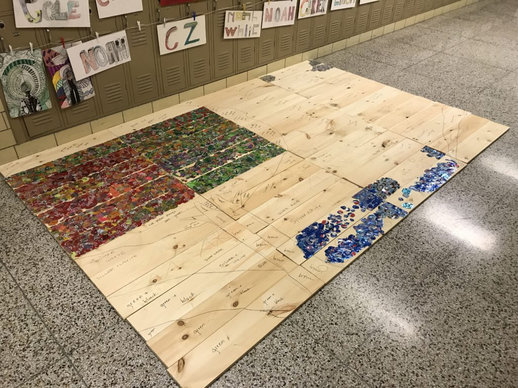 Lindsay Huff aluminum can mural at Ambridge Area Middle School 2018